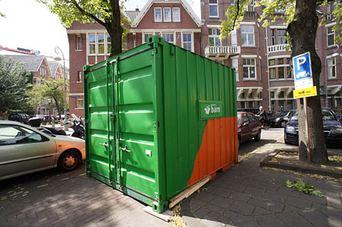 A 10-foot shipping container, the smallest size in normal use